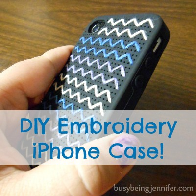 DIY Embroidery iPhone Case side view from busybeingjennifer.com