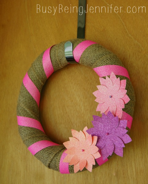 Neon and Burlap Wreath ~ BusyBeingJennifer.com