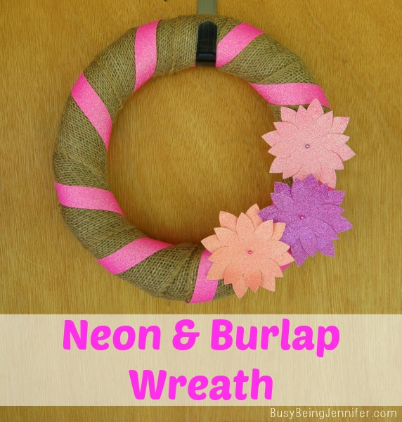 Neon and Burlap Wreath by BusyBeingJennifer.com