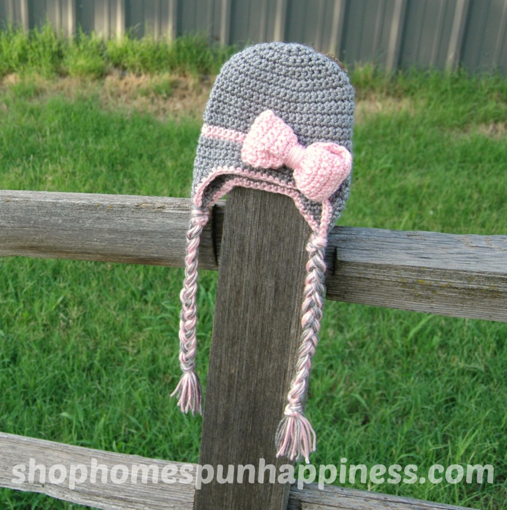 Pink and Grey Big Bow Hat - shophomespunhappiness.com