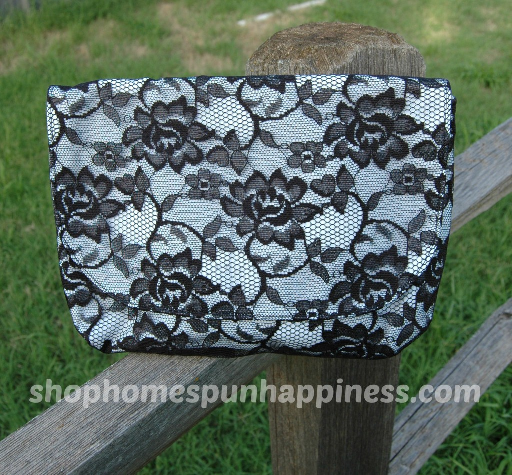 White and Black Lace Clutch - shophomespunhappiness.com
