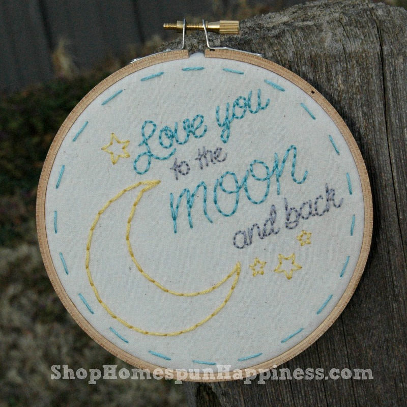 5 Inch Love You To The Moon And Back Hoop Art - ShopHomespunHappiness.com