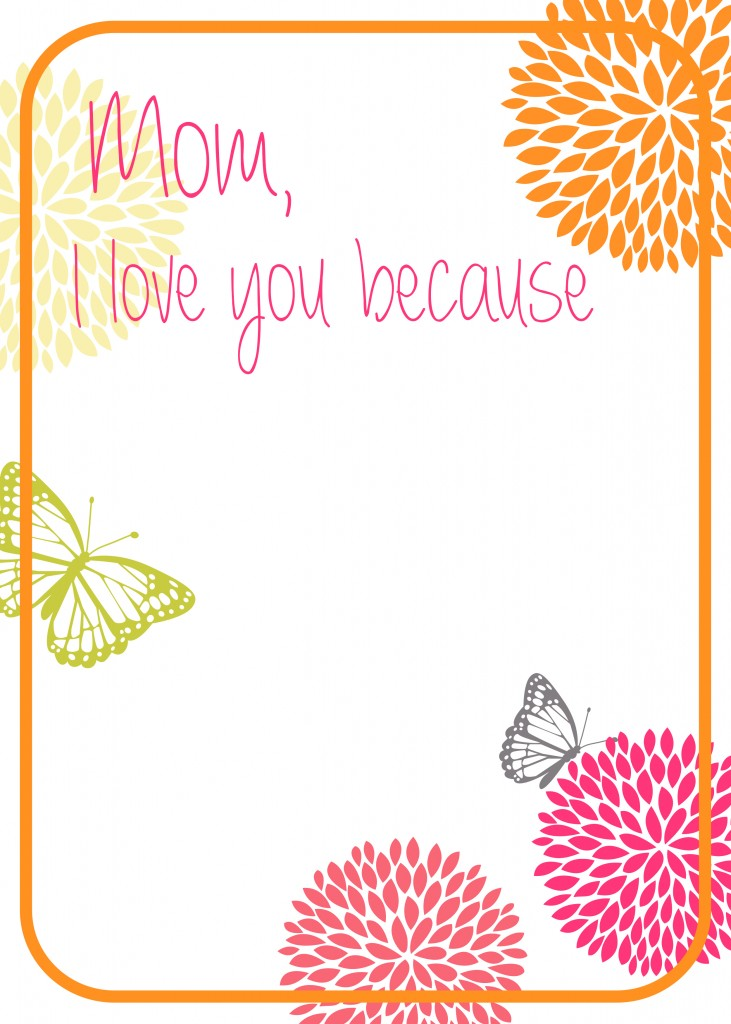 Free Mom I Love You Because Printable - BusyBeingJennifer.com