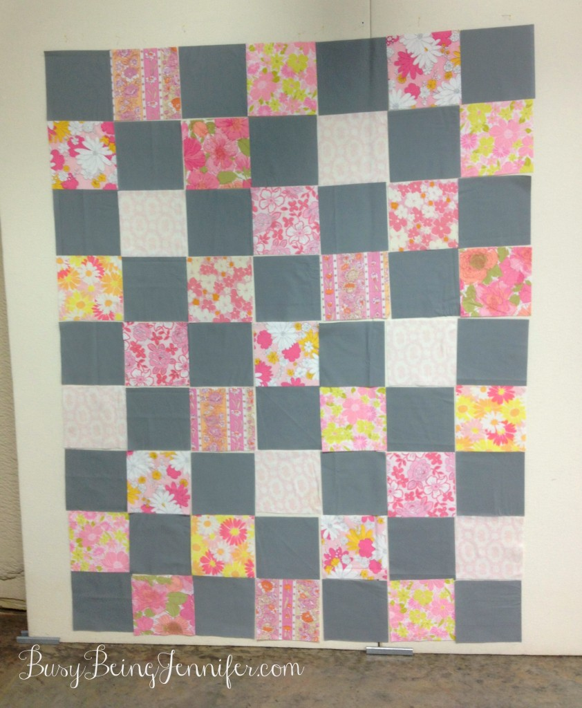 Vintage Sheet Quilt in the Works )  - BusyBeingJennifer.com