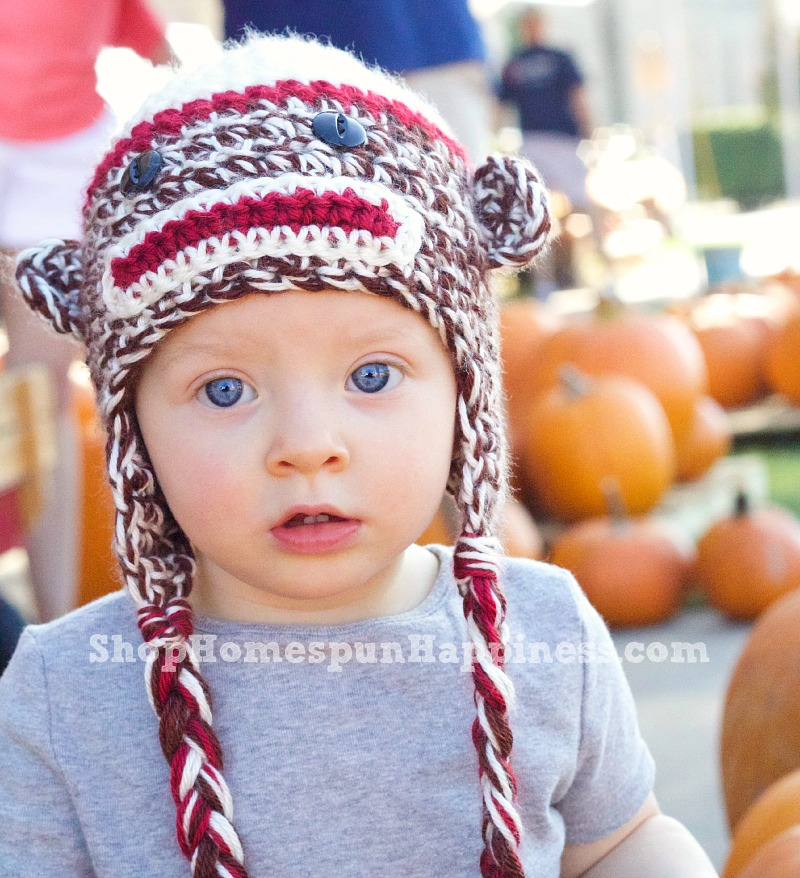 Adorableness in a Sock Monkey Hat!  -  ShopHomespunHappiness.com