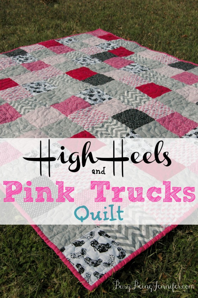 High heels and pink trucks quilt for my bestie! - busybeingjennifer.com
