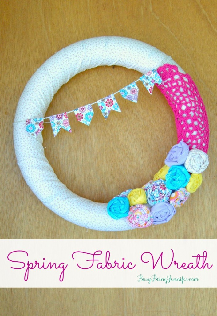DIY Spring Fabric Wreath from BusyBeingJennifer.com