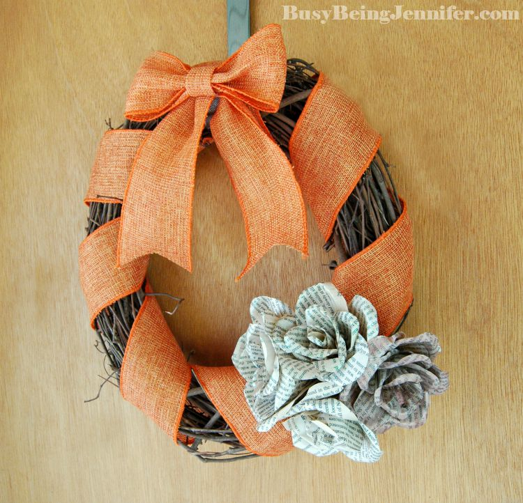 Book Page Rose Fall Wreath - BusyBeingJennifer.com