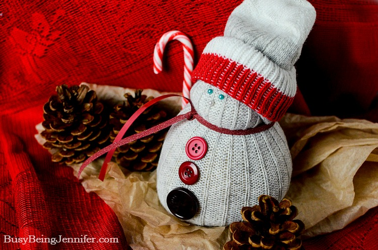 Adorable DIY Christmas Sock Snowman - BusyBeingJennifer.com