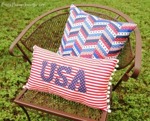 Red White and Blue Pom Pom Pillow - BusyBeingJennifer,com