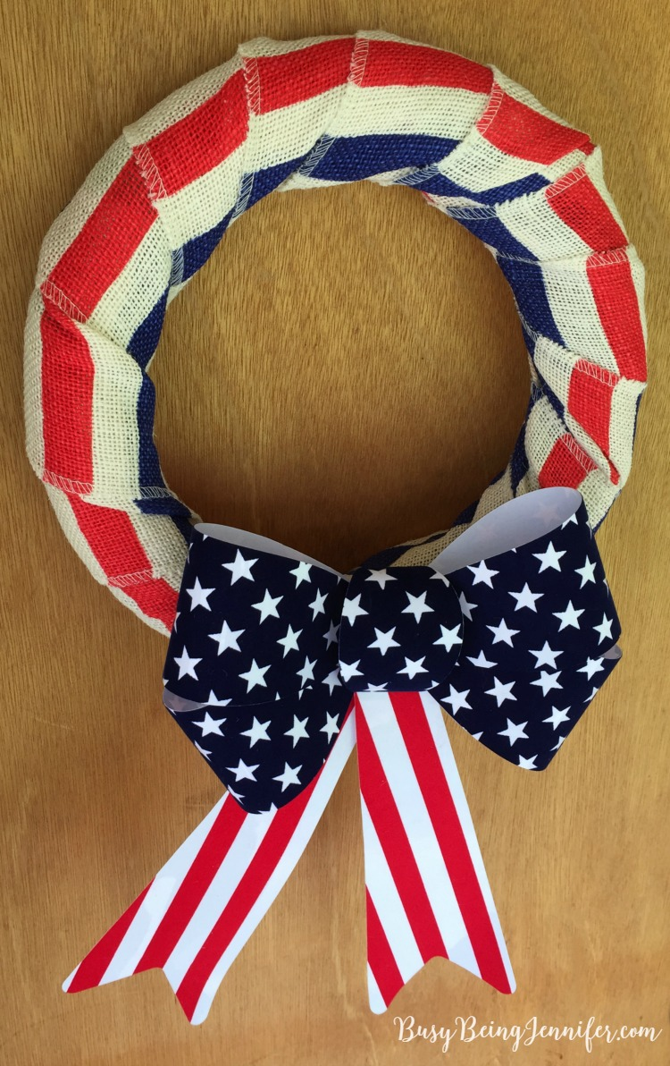 Easy Patriotic Wreath perfect for the 4th of July! - BusyBeingJennifer.com