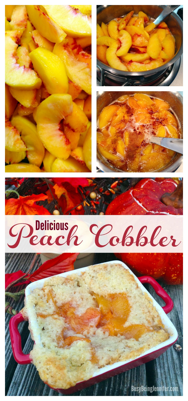 Fall Favorite! Delicious Peach Cobbler that the whole Family will love! I've got to try this recipe from BusyBeingJennifer.com