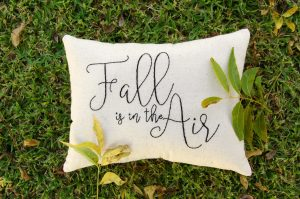 "Love Everything about FALL? So do we!! This ""Fall is in the Air"" farmhouse pillow is hand stitched and available for sale at ShopHomespunHappiness.com"