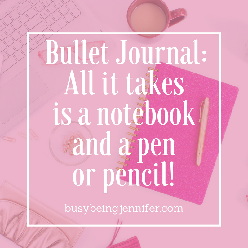 Getting started with bullet journalling only takes a notebook, pen or pencil and a few minutes!