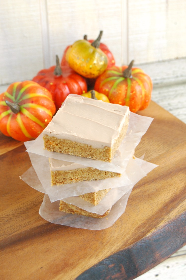 These Pumpkin Spice Bars with Maple Bourbon Frosting are incredibly tasty and a pretty quick recipe to bake up! They're sure to be a hit with the family!