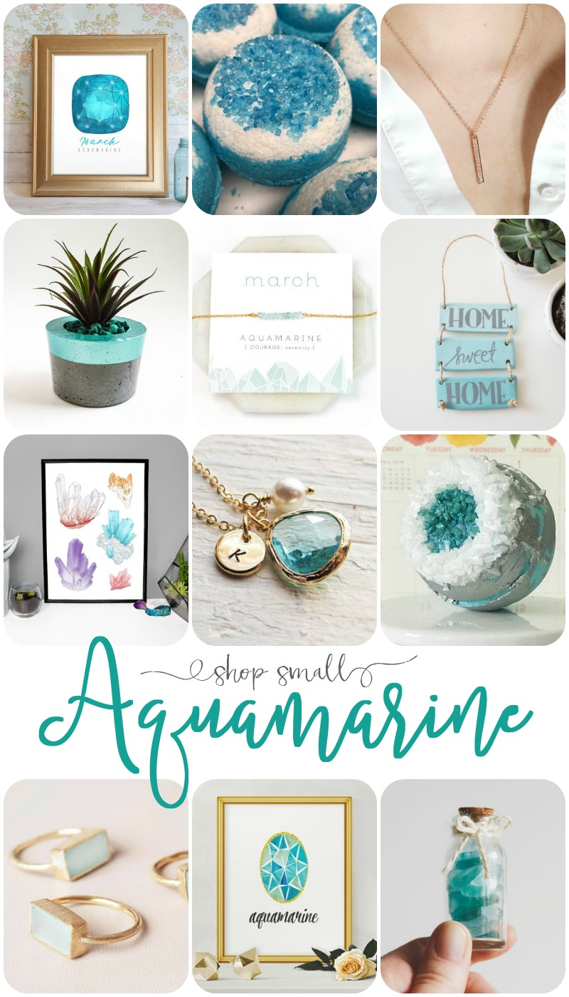 I found some fabulous Aquamarine ideas I just had to share! You know, in case you have some march birthdays you need to shop for too!