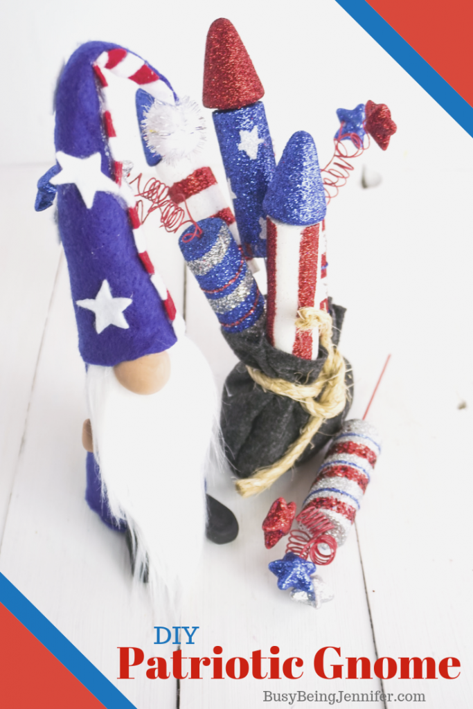 This DIY Patriotic Gnome is the perfect cute and quirky friend to add to your red, white and blue summer decor!