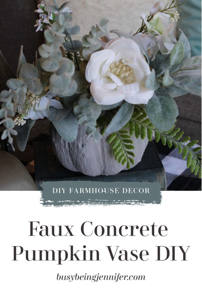 This sweet, easy, and gorgeous Faux Concrete Pumpkin Vase project is a wonderful edition to your fall home decor, and if you change out the flowers, you could easily use this DIY decor right up until Thanksgiving!