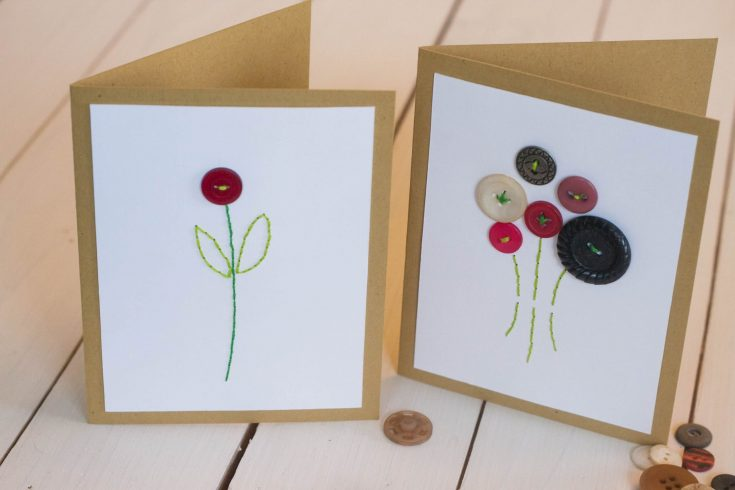 DIY Button Embroidery Cards