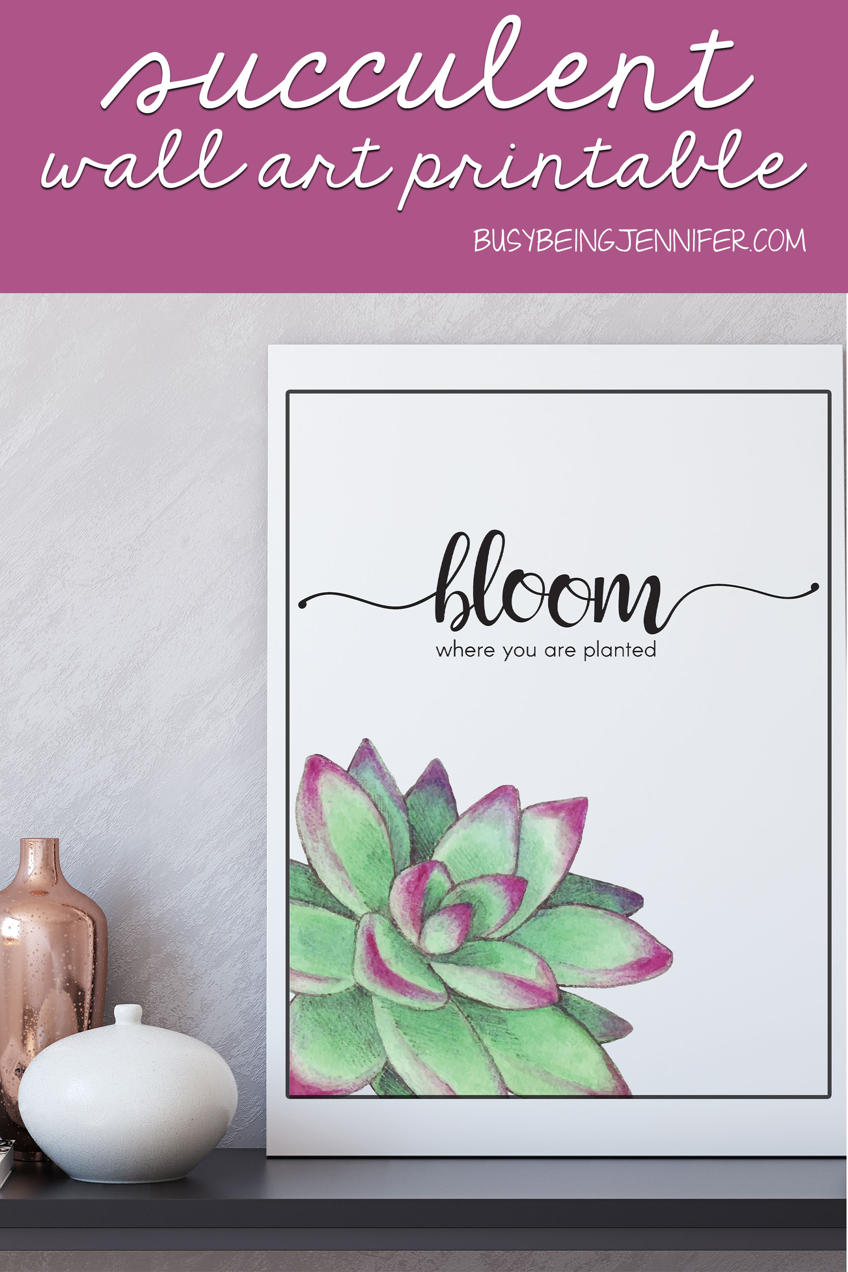I needed a little uplifting somethin-somethin on my office wall, to mix-up the blah I'm feeling lately. This Succulent Wall Art Free Printable was the resulting piece that I just couldn't love more.