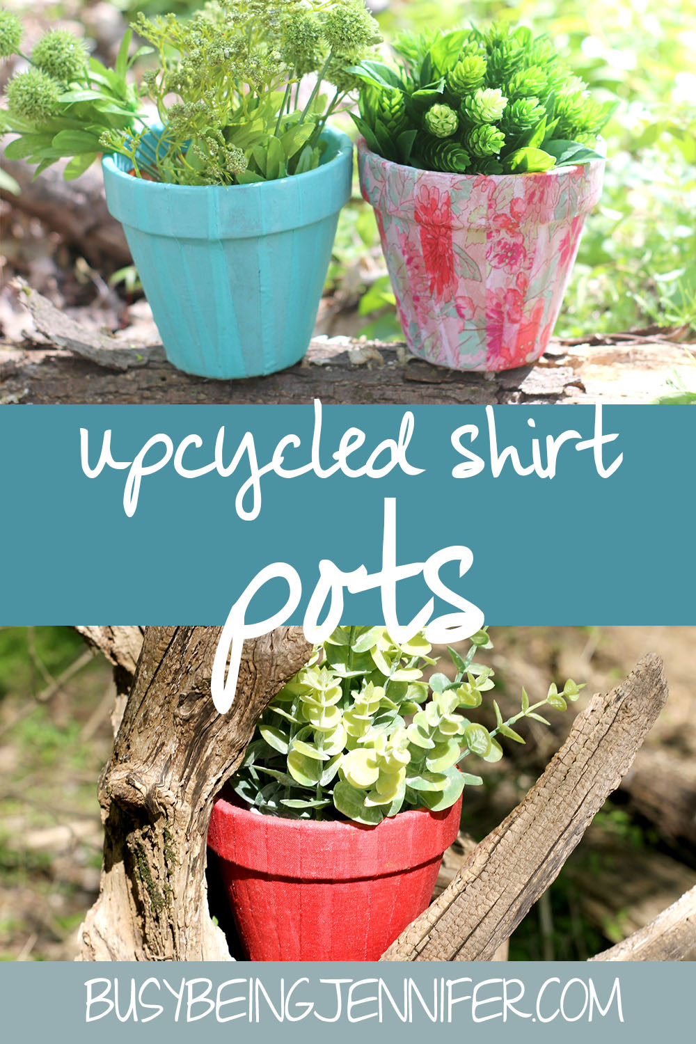 I wanted to update my porch with some plants, but didn't want boring old terra cotta pots. So I made some fun Upcycled Shirt Flower Pots.